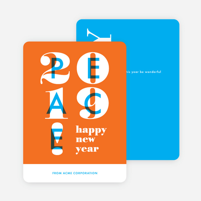 Overlapping Peace Corporate Holiday Cards - Orange
