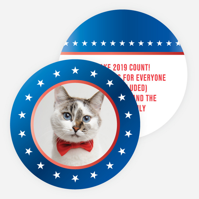 Political Button Photo Holiday Cards - Blue