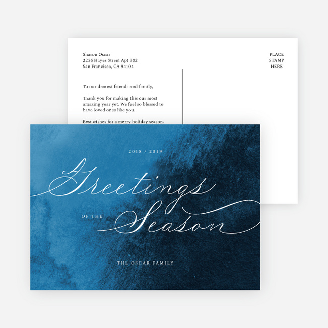 Delicate Script Multi Photo Holiday Cards - Blue