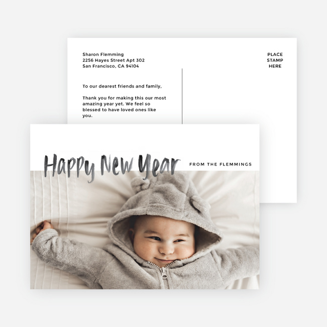 photo first new year cards and invitations black