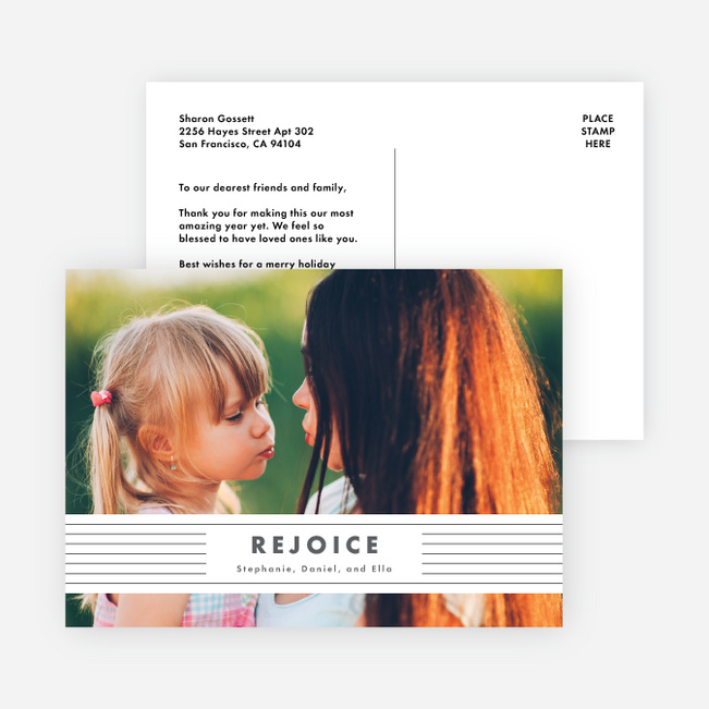 Rejoice Banner Christmas Cards - Gray