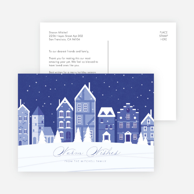 Winter Street Multi Photo Holiday Cards - Blue