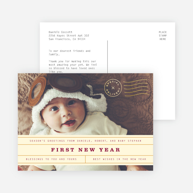 Vintage Postcard New Year Cards and Invitations - Yellow