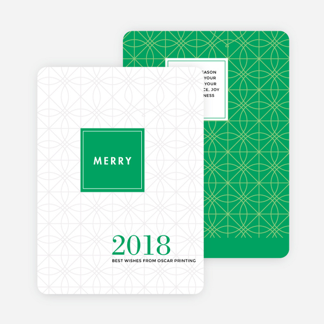 Abstract Ornaments Corporate Holiday Cards - Green