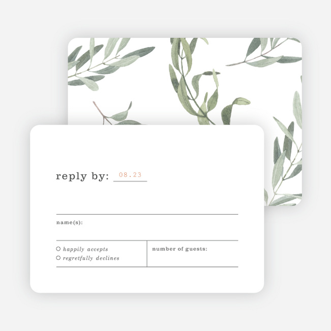 Olive You Wedding Response Cards - Green