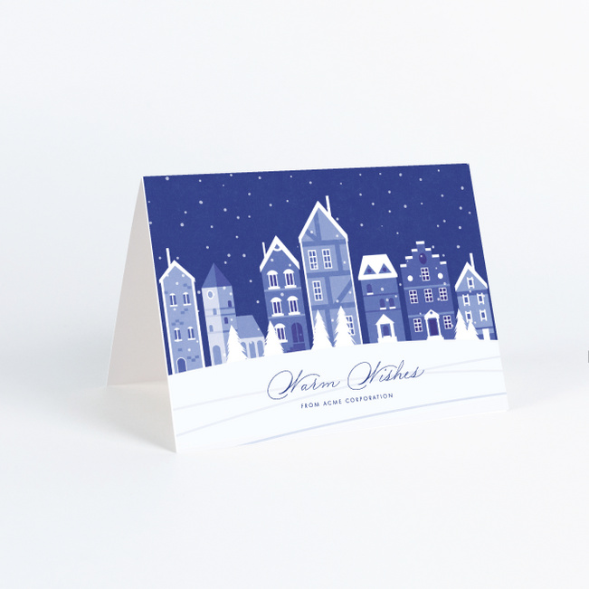 Winter Street Business and Corporate Holiday Cards - Blue
