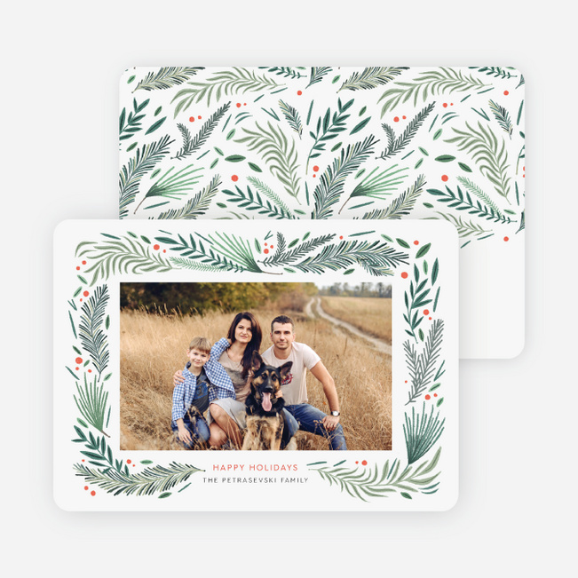 Pine Tree Motif Christmas Photo Cards & Holiday Photo Cards - Green
