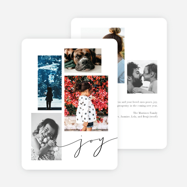 Festive Script Multi Photo Holiday Cards - Black