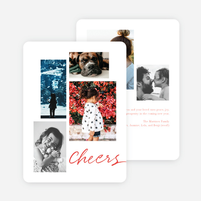 Festive Script New Year Cards and Invitations - Red