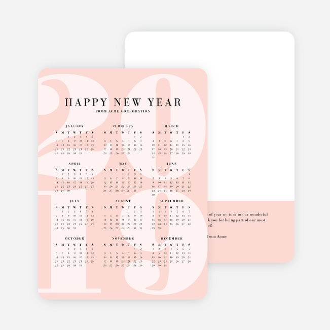 Calendar Greetings Corporate Holiday Cards - Pink