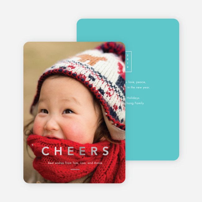 Foil Cheers Holiday Cards - Blue