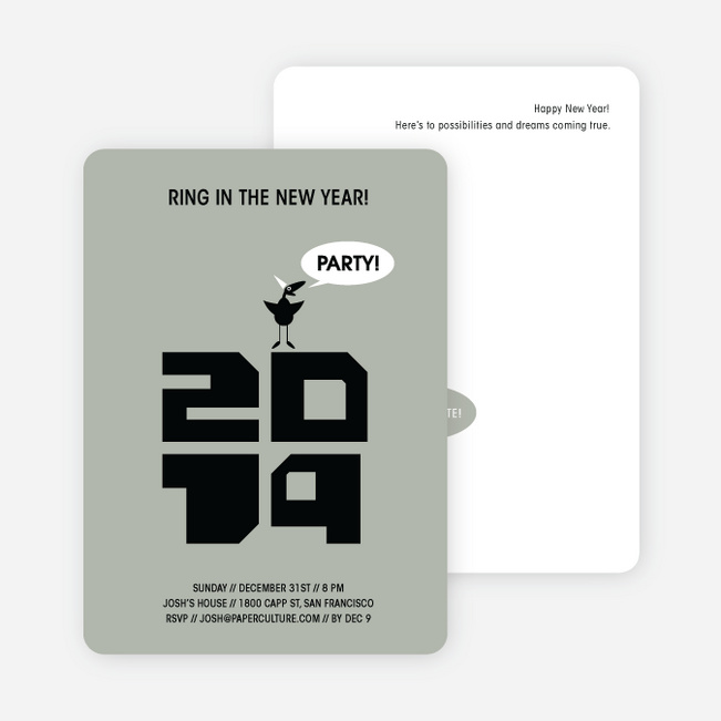 Chic New Year's Eve Party Bird Invitations - Silver Grey
