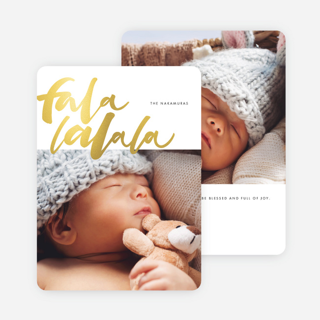 Foil Falala Christmas Cards - Yellow