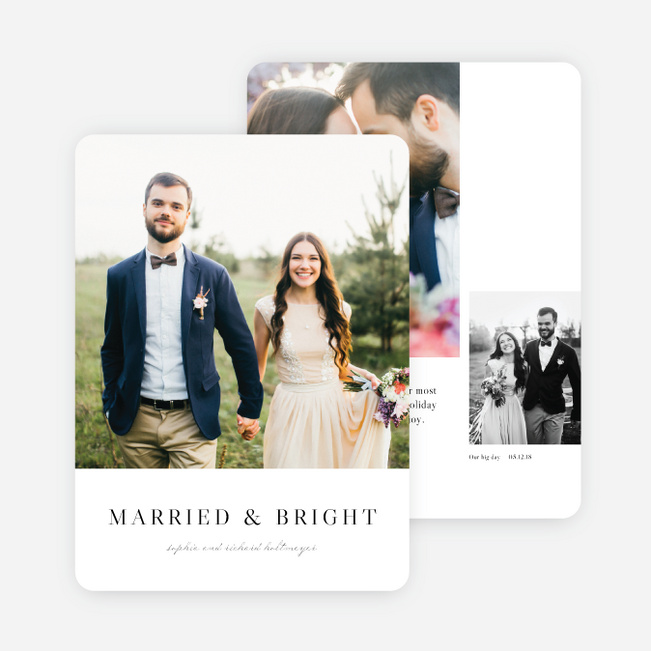 Married & Bright Multi Photo Holiday Cards - Black
