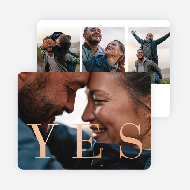 Foil Definitive Yes Save the Date Cards - Pink