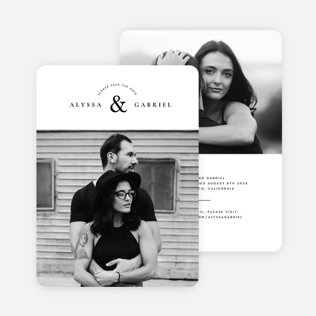 Minimal Touch Save the Date Cards - Black