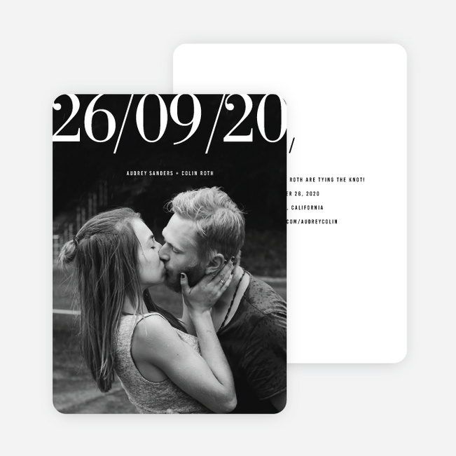 Front Page News Save the Date Cards - Black