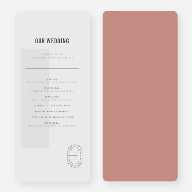 Artisanal Details Wedding Programs - Pink