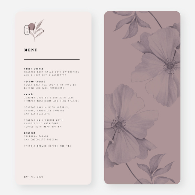 Artistic Flowers Wedding Menus - Gray