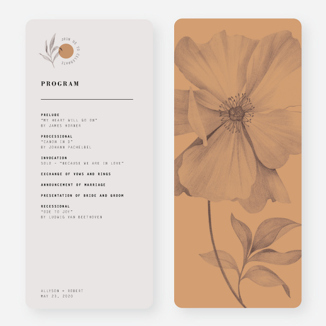 Artistic Flowers Wedding Programs - Brown
