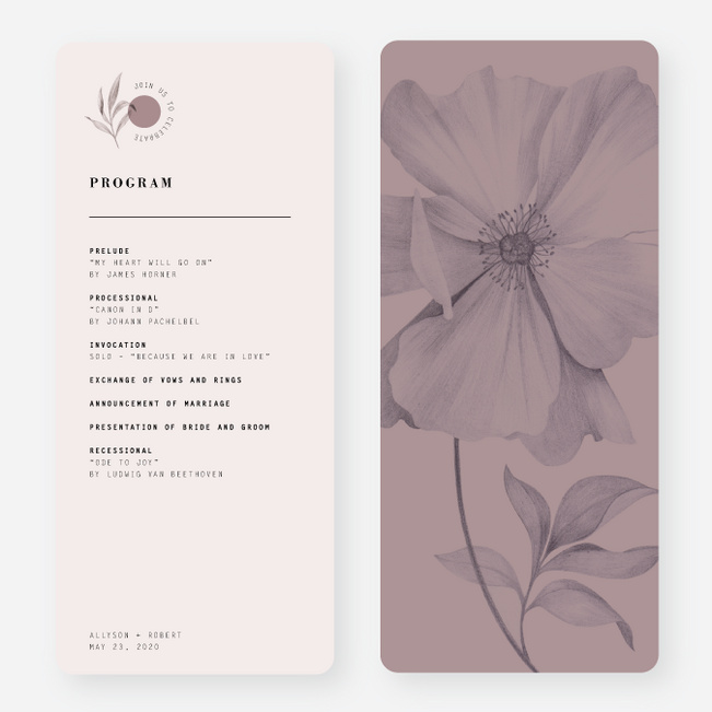 Artistic Flowers Wedding Programs - Gray