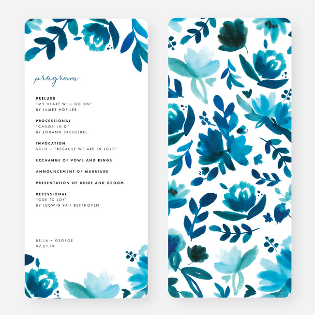 Bohemian Floral Wedding Programs - Blue