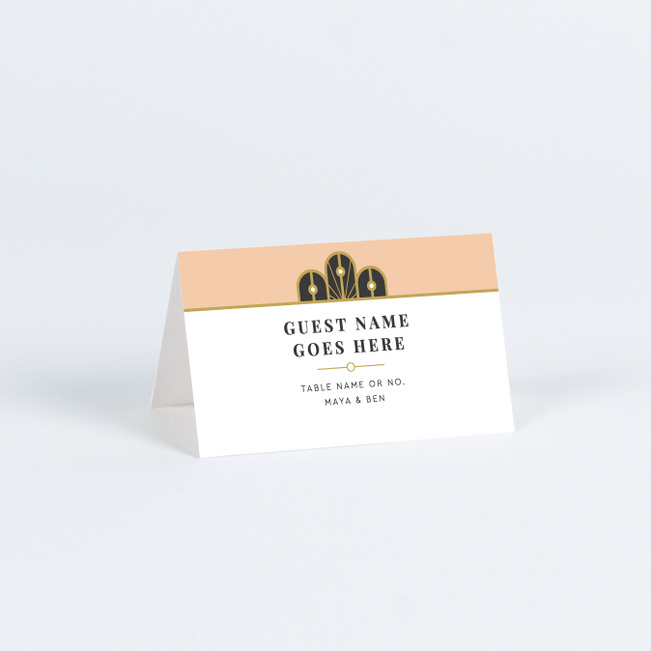 Deco Arches Wedding Name Cards & Place Cards - Pink