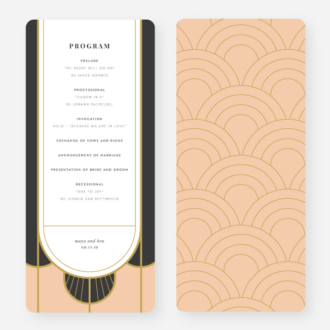 Deco Arches Wedding Programs - Pink