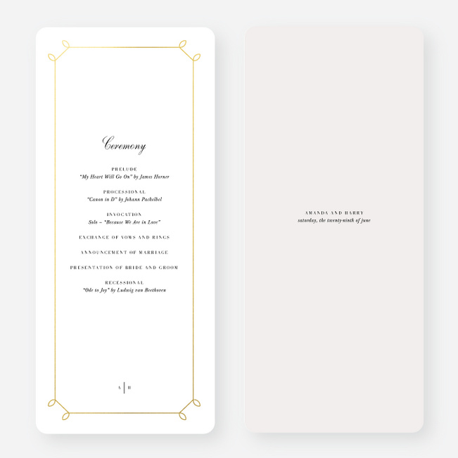 Foil Elegant Scroll Wedding Programs - Yellow