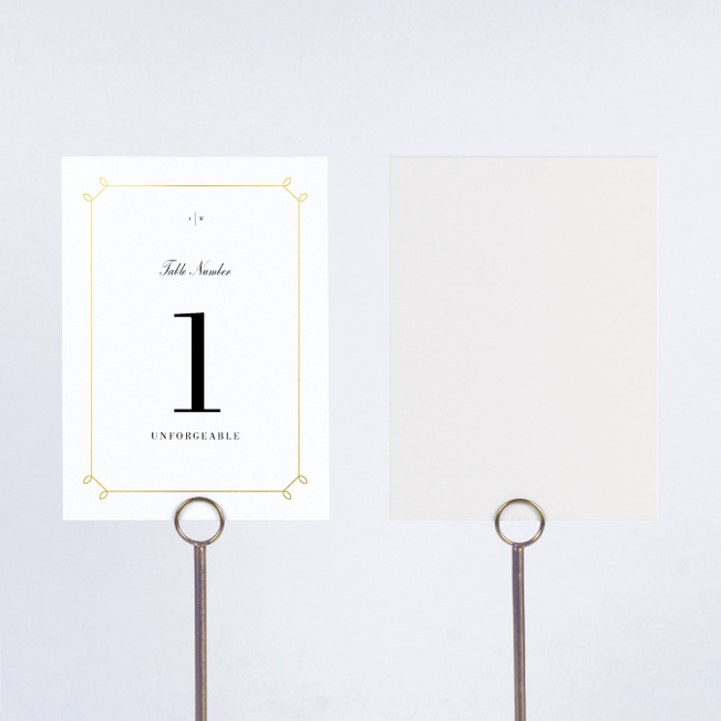 Foil Elegant Scroll Wedding Table Cards - Yellow