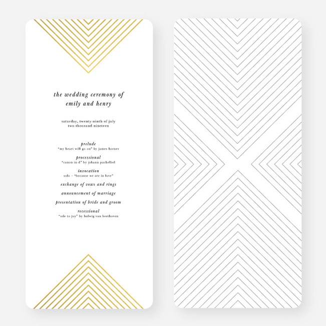Foil Mirrored Angles Wedding Programs - Yellow
