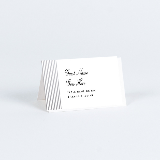 Foil Sidebar Wedding Wedding Name Cards & Place Cards - Gray