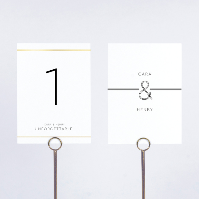Foil You & Me Wedding Wedding Table Cards - Yellow