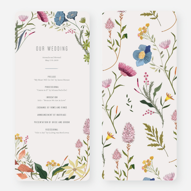 Herbs & Wildflowers Wedding Programs - Multi