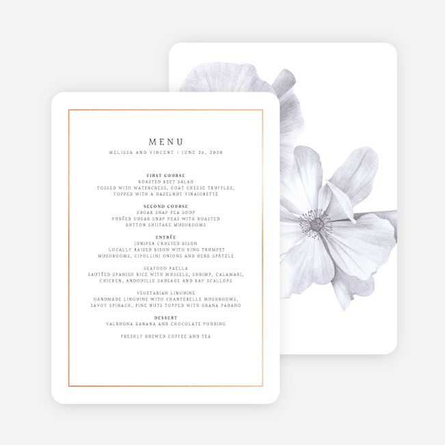 Modern Meets Vintage Wedding Menus - Pink