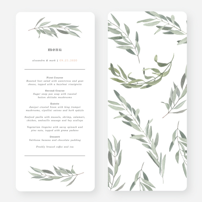 Olive You Wedding Menus - Green