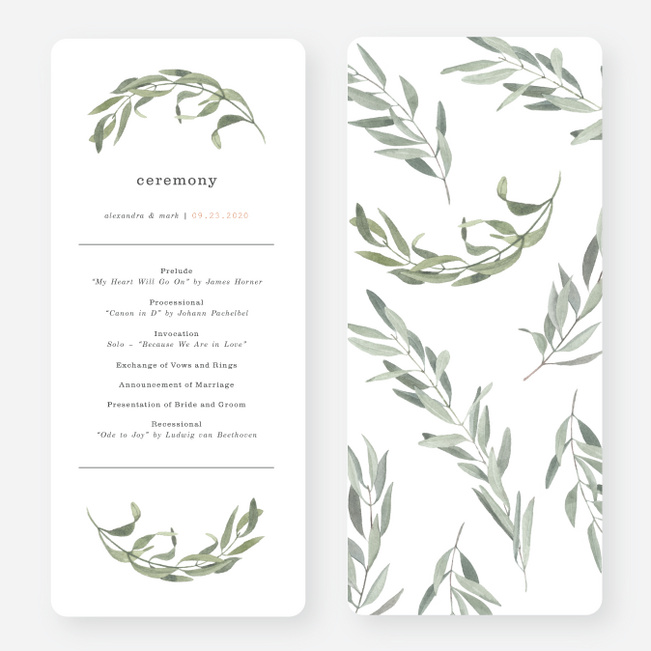 Olive You Wedding Programs - Green