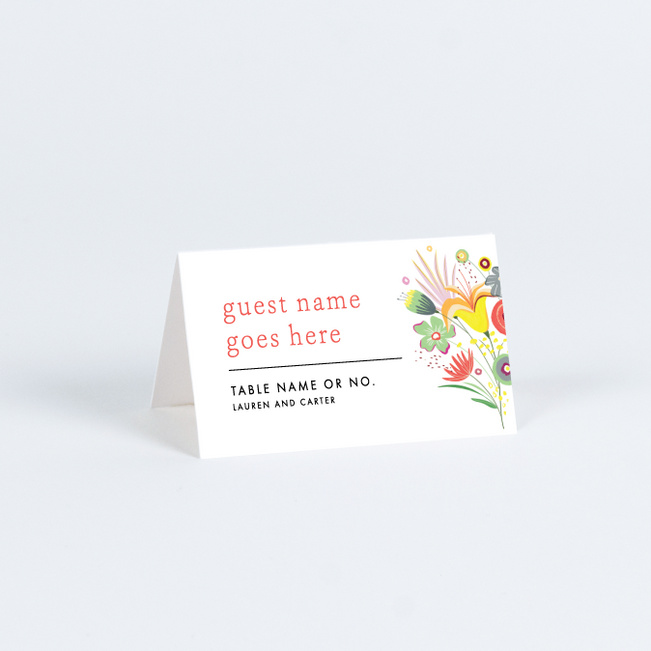 Vibrant Botanicals Wedding Name Cards & Place Cards - Multi