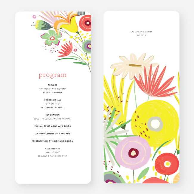 Vibrant Botanicals Wedding Programs - Multi
