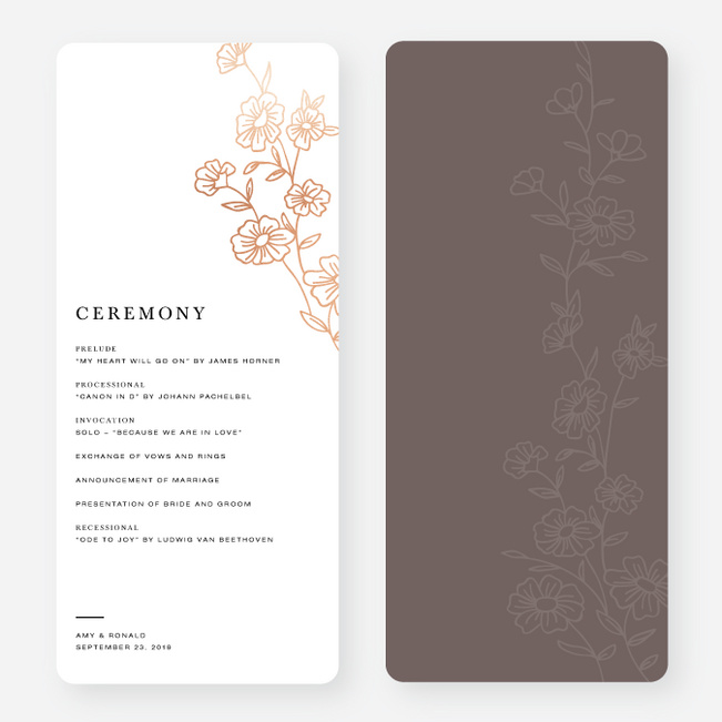 Elegant Roses Wedding Programs - Brown