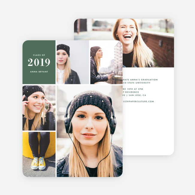 Photo Board Graduation Invitations - Green