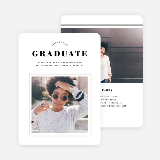 Artisanal Frame Graduation Invitations - Black