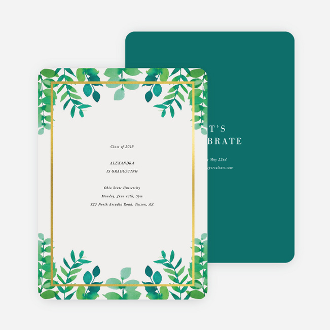 Foil Floral Celebration Graduation Invitations - Green