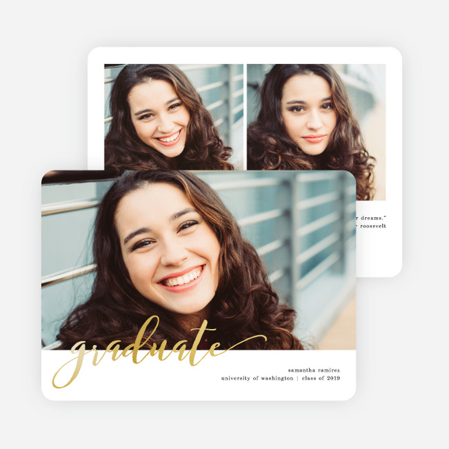 Foil Fun Script Graduation Announcements - Yellow
