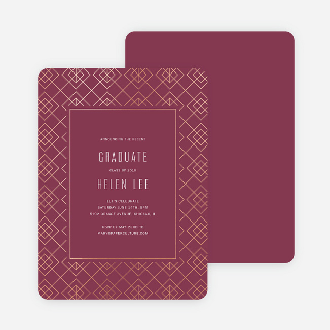 Foil Geo Border Graduation Party Invitations - Red