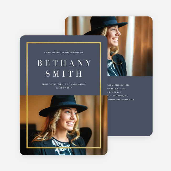 Foil Split Border Graduation Announcements - Blue