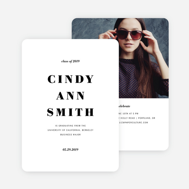 Simply Classic Graduation Invitations - Black