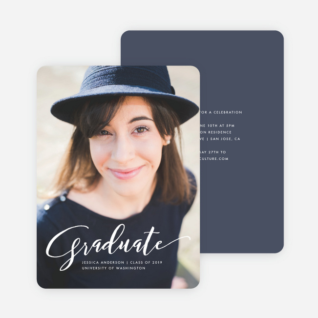 Simply Script Graduation Invitations - Blue