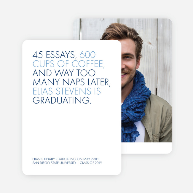 Wise Message Graduation Announcements - Blue
