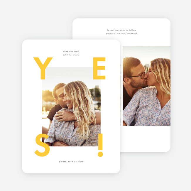 Say It loud Save the Date Cards - Yellow